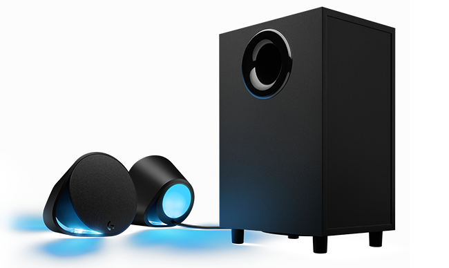 logitech g560 rgb pc gaming speakers with game driven lighting